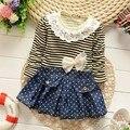 2015 мода осень корейской девушки бабий кружевной воротник в полоску с длинными рукавами Футболки платье дети детская одежда платья S1884