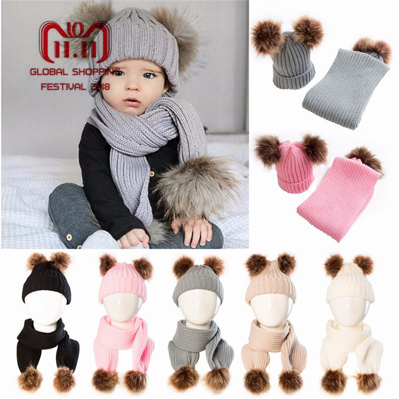 2018 Winter Puseky Infant Toddler Baby Boys Girls Fur Pom Pom Ball Knit Warm Beanie Cap Ski Hat+Scarf Warm Crochet Headgear Set infant winter warm knit crochet caps baby beanie hat toddler kid faux fur pom pom knit skullies ski cap 0 3 years