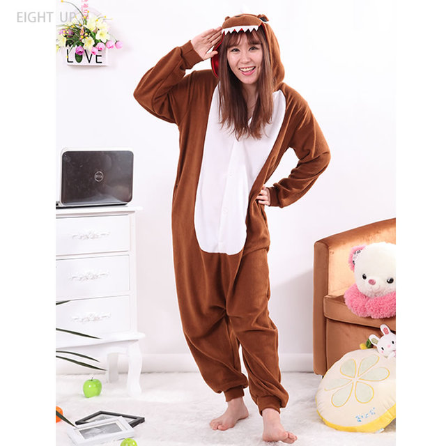 b51e569f5db8 EIGHT UP Dinosaur Brown Adult Animal Jumpsuit Pajamas Fleece Onesies  Cartoon Kigurumi Onesie Cosplay Costumes Pyjama Sleepsuit