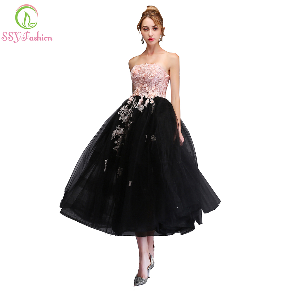SSYFashion New Sweet Pink with Black   Evening     Dress   Strapless Sleeveless Lace Appliques Tea-length Party Gown Formal   Dresses