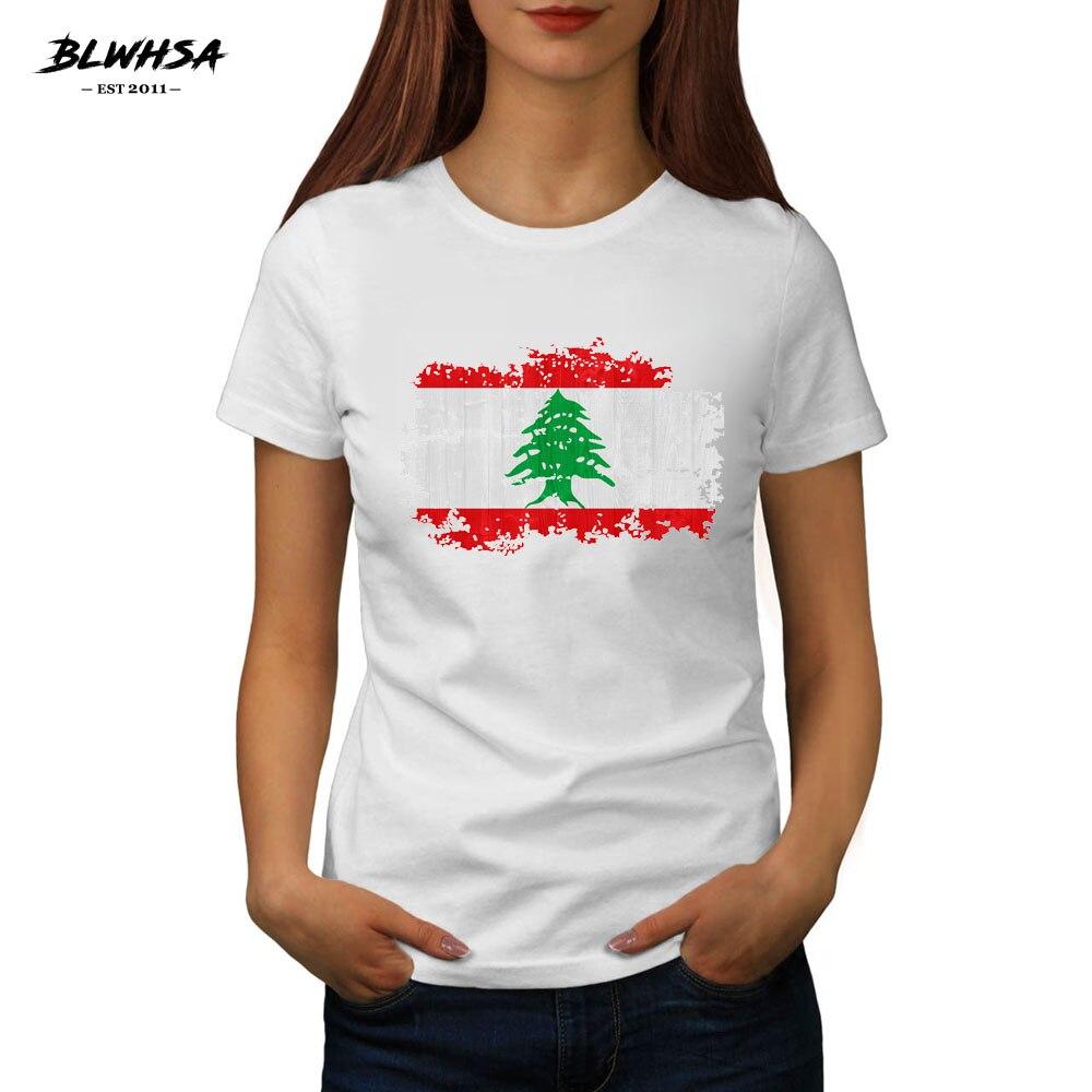 BLWHSA Summer Women T Shirt Lebanon National Flag Printed Short Sleeve Nostalgic Style Casual T-shirt Girl Casual Tops