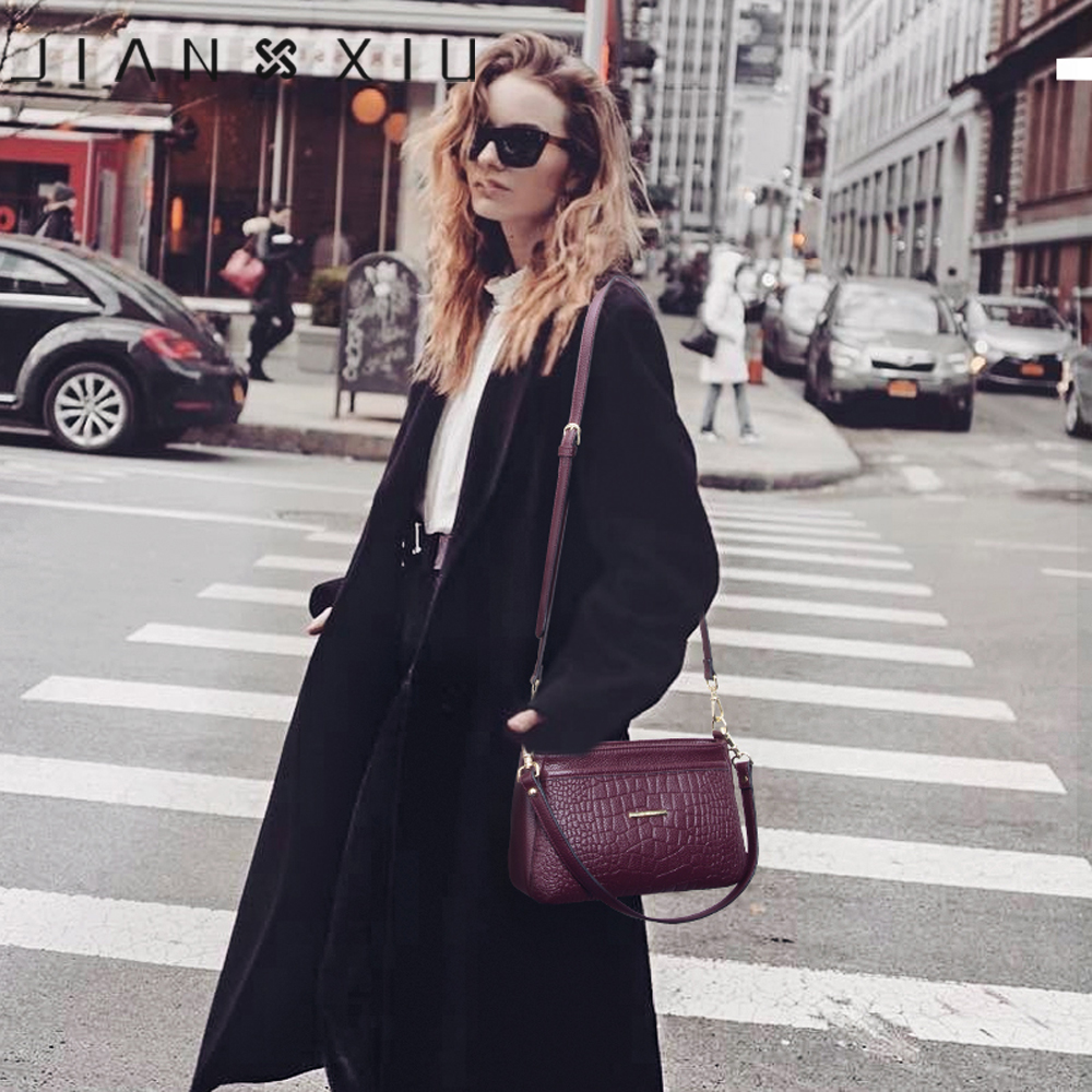 Jianxiu 브랜드 여성 어깨 crossbody 악어 패턴 정품 가죽 핸드백 2019 새로운 여성 메신저 가방 작은 토트 백-에서숄더 백부터 수화물 & 가방 의  그룹 2