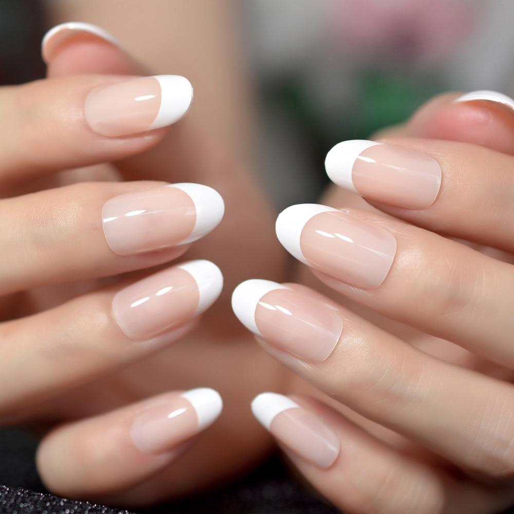 Nail art salon oval acrylic french nail kit real medium ...