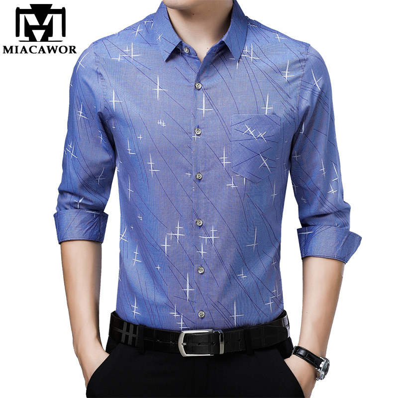 MIACAWOR 2019 New Print Casual Shirts Men Slim Fit Male Social Shirt Long Sleeve Camisa Masculina Men Clothing C451