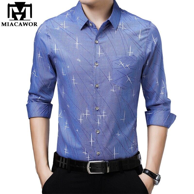 MIACAWOR 2019 New Print Casual Shirts Men Slim Fit Male Social Shirt Long Sleeve Camisa Masculina Men Clothing C451