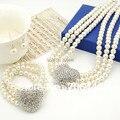 Corazón de plata Joyería de La Boda Establece 3 Filas Cream Collar de Perlas Pulsera Pendientes Conjuntos de Joyería Nupcial