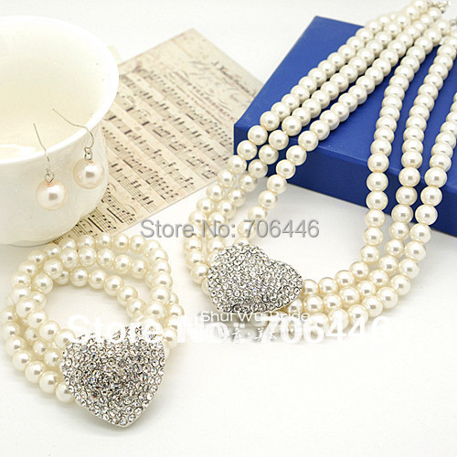Silver Heart Wedding Jewelry Sets 3 Rows Cream Pearl Necklace Bracelet Earrings Bridal Jewellery - Yiwu Liangqian Accessories Firm (Mini Order>$8 store)