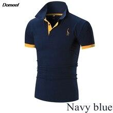 Domeef мужчины Poloshirt новые стильные мужские Slim Fit хлопок короткий рукав повседневные рубашки поло Футболка 12 Цветов M-3XL