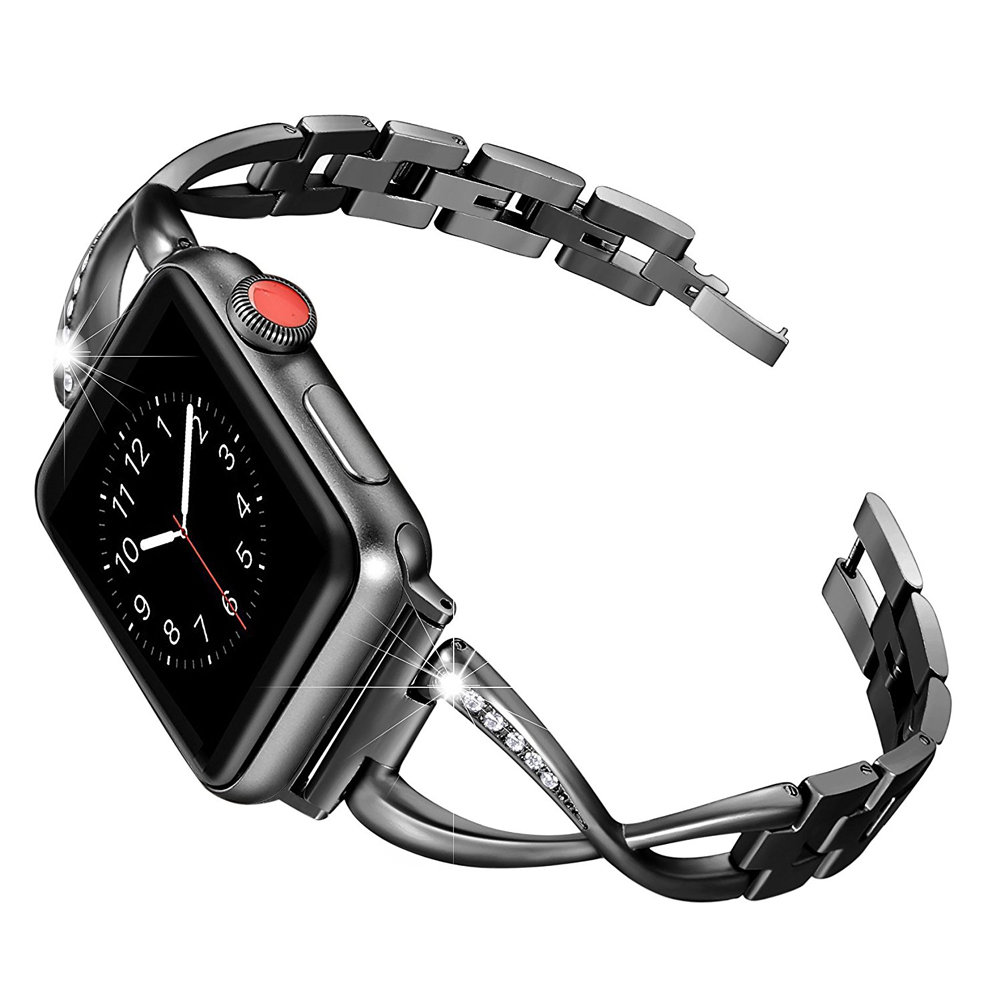 CRESTED stainless steel strap for apple watch band 42mm/38mm iwatch series 3/2/1 bracelet metal+diamonds wrist belt цена