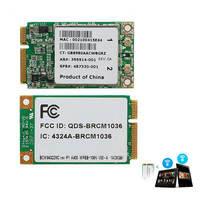 Tablet-Mini Dual Band BCM94322MC Wireless-N WIFI 300M PCI-E Card For HP SPS:487330-001