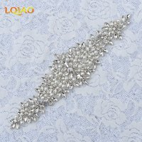 Wholesale 5pcs Handmade Beaded Silver Pearl Crystal Rhinestone Applique For Wedding Dresses Sewing Iron On Applique