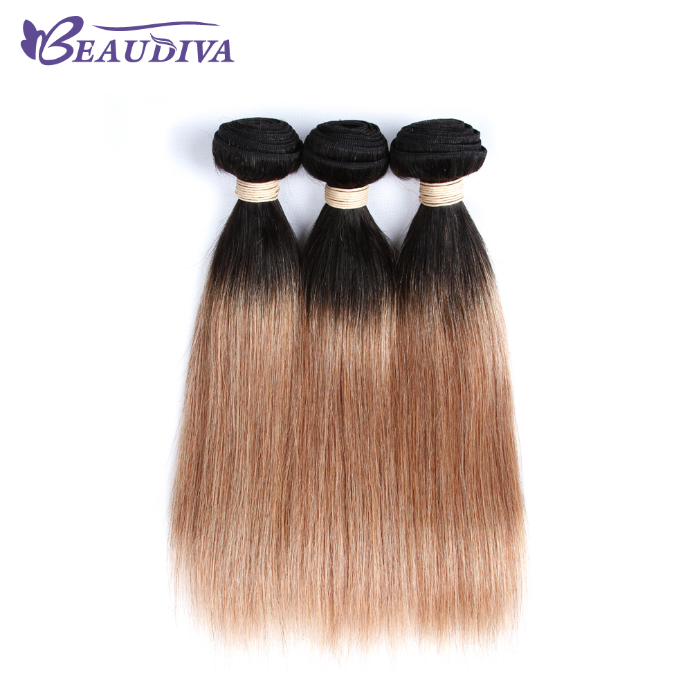 BEAUDIVA T Color Human Hair Weave 3Pcs Brazilian Straight T1B/27 Ombre Colored Hair Weaving 10-24inch