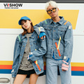 VIISHOW Brand Casual Distressed Denim Jacket Men and Women Tide Brand Streetwear Jacket Men Blue Jean Jacket chaqueta hombre