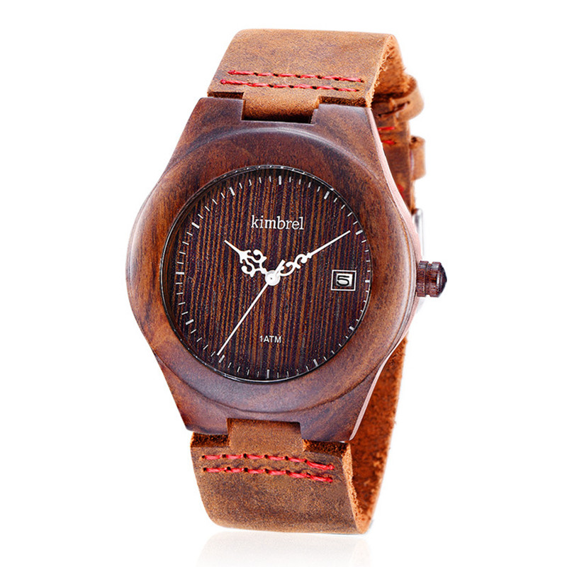 2016 Newest Japanese Movement Wristwatch Water Resistant Calendar Genuine Leather Wooden Watches For Men and Women