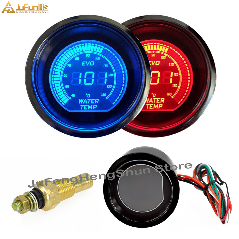 52mm Car Water Temperature Gauge 12V Auto Blue Red LED Light Tint Lens Gauges Digital Temp Meter Celsius instrument with Sensor