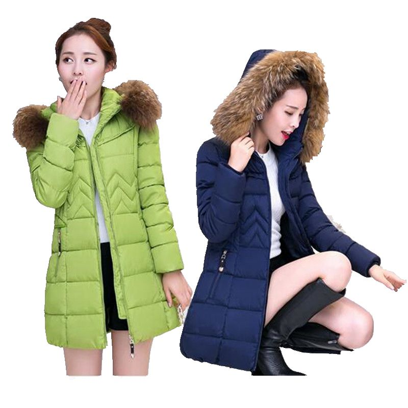 New 2016 Han edition Thicken Hooded fur collar Down jacket Cotton padded jacket Big yards Leisure