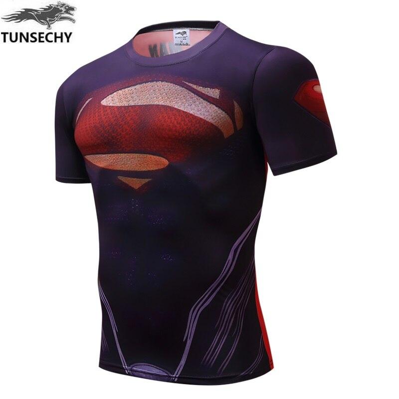 Superman  muscle men's shirt, T-shirt, fitness equipment fitness male iron man, spider-man man sportswear batman armor