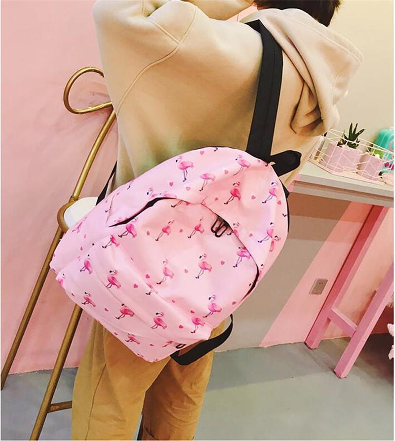 Meloke 2019  Printed Flamingo And Fruit Canvas Backpacks Casual Large Size School Bags For Girls Travel Bags Drop Shipping Mn933 #2