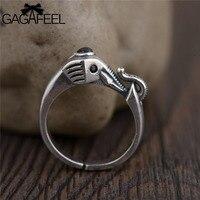 GAGAFEEL Vintage Elephant Frauen Ringe Mode Reine 925 Sterling Silber Schwarz Weiß CZ Kristall Tier Öffnen Schmuck Ringe Dropship