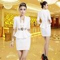 Frete Grátis Branco Moda Waisted Forma Saia Ternos Para Mulheres Trabalho Magro Formal Usa Para Os Trabalhadores Do Hotel Uniformes de Companhias Aéreas