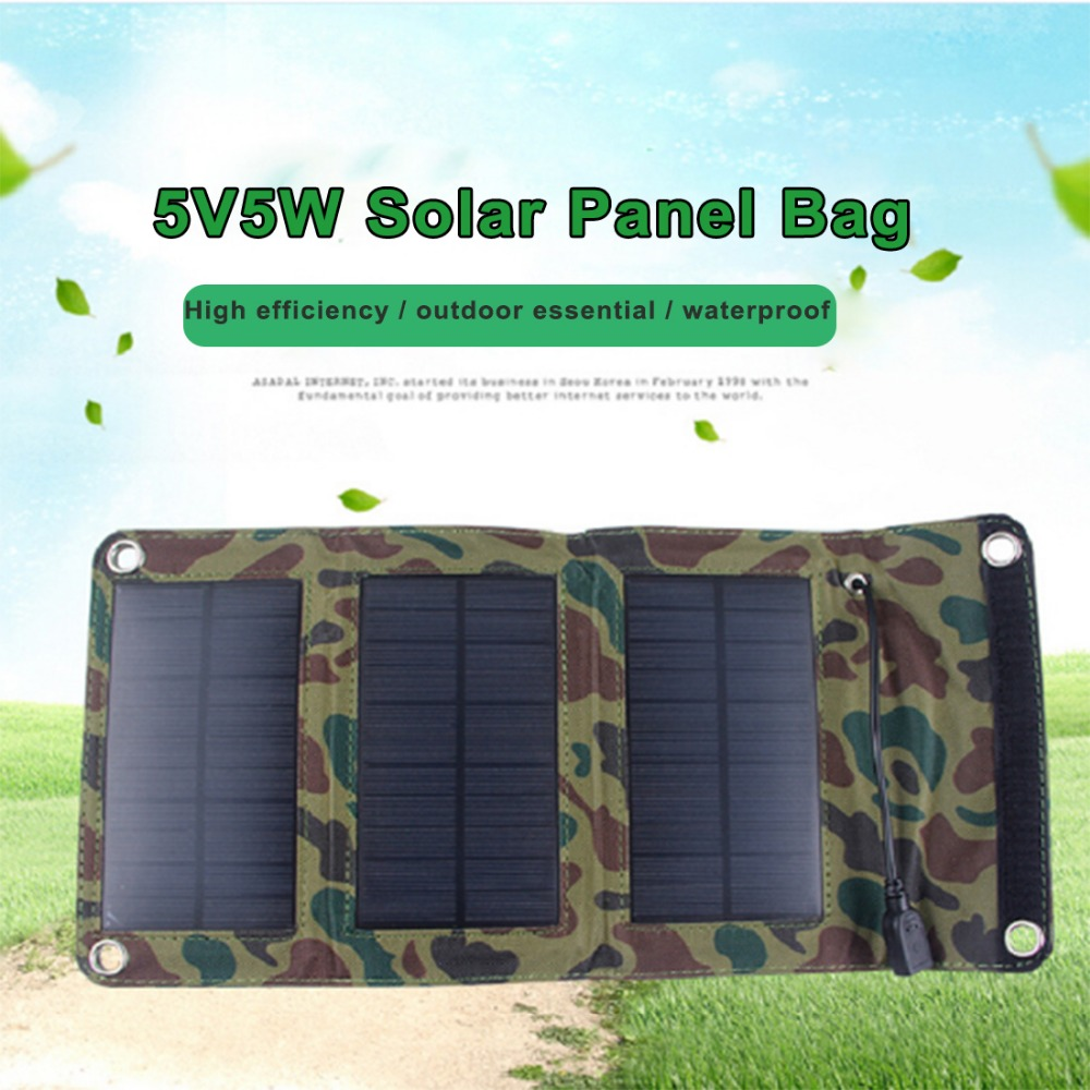 5V 5W Solar Cells Charger 900mA USB Output Portable Solar Panel Devices for Laptop Smartphones Outdoor Camping Solar Power Bag