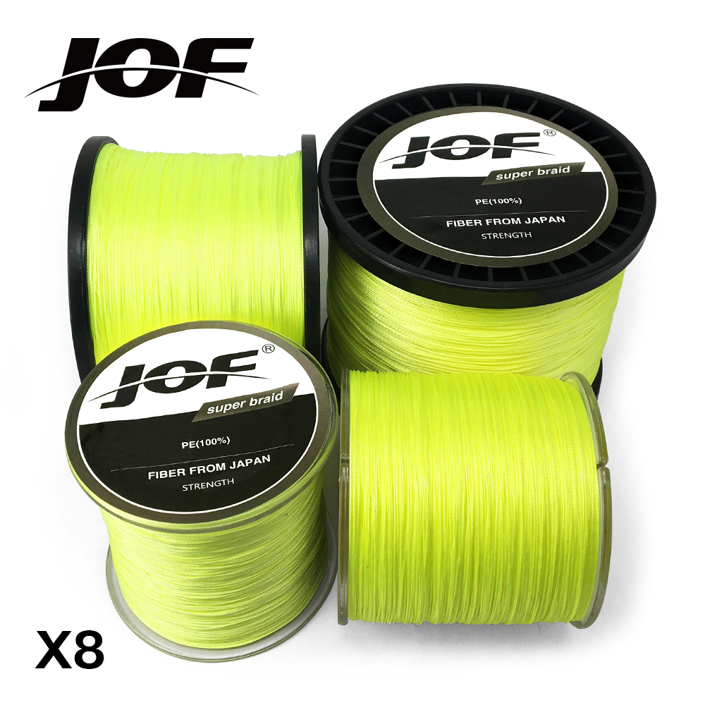 JOF Braided Fishing Line 8 Strands Fluorescent Yellow 100M 150M 300M 500M 1000M Cord linha multifilamento 8 Fishing