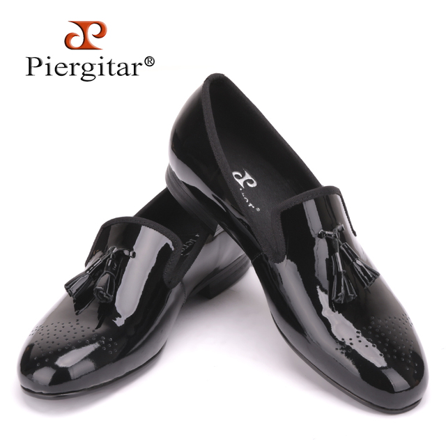 Piergitar Black Patent Leather Men Dress Shoes with Tassel Plus Size Men Loafers Party and Wedding Men Flats US Size 4-17
