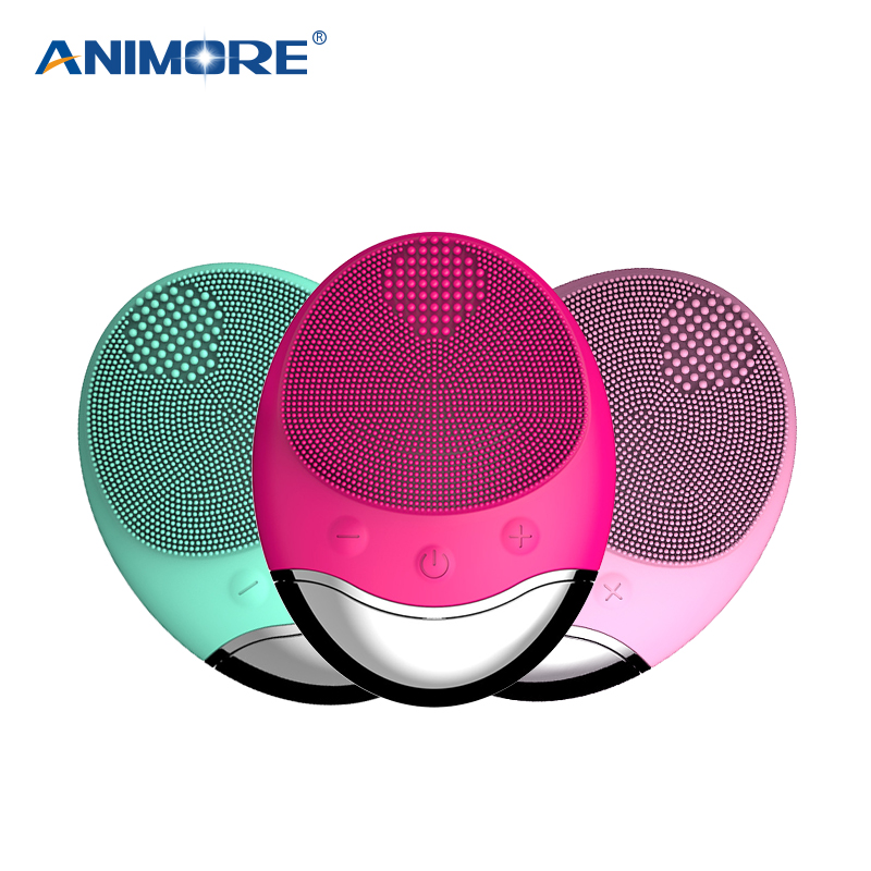 ANIMORE Electric Face Cleansing Brush USB Base Charging Deep Cleaning Face Remove Make-up Residue Face Brush Facial