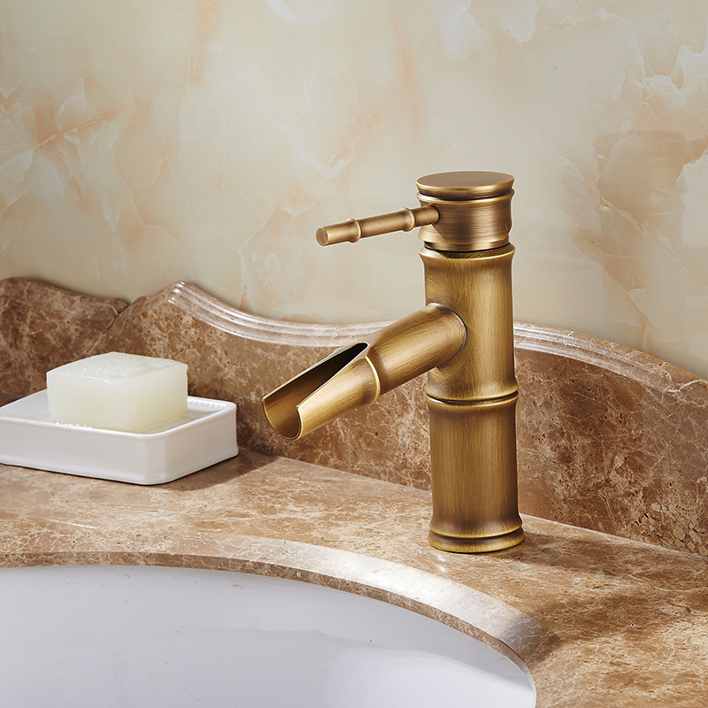 Antique Bamboo Bathroom Faucet Antique Bronze Finish Brass Basin