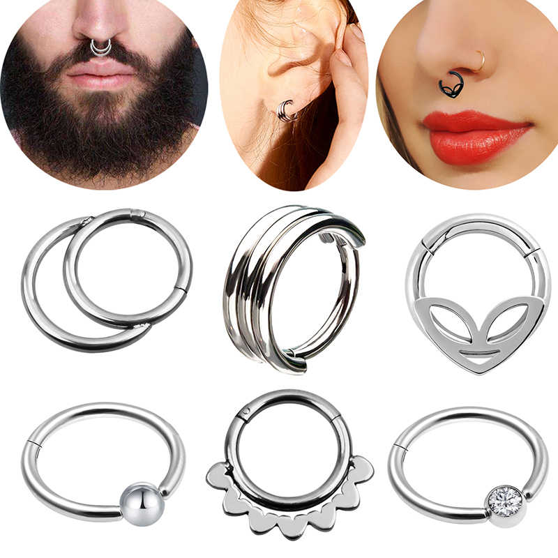 Double Layers Mixed Style 16g Steel Clicker Segment Nose Hoop