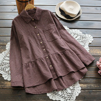 4165 new spring big size women vintage Japan style loose blouse female cotton linen plaid turndown collar long sleeve shirt tops