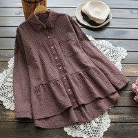 4165 new spring big size women vintage Japan style loose blouse female cotton linen plaid turndown collar long sleeve shirt tops