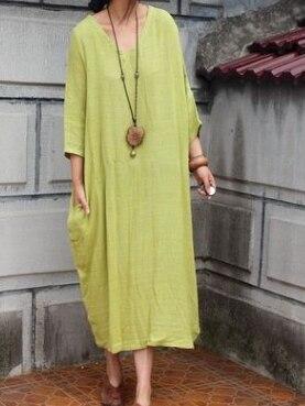 Дизайн sparse текстура хлопок неправильное лоскутное платье женская Свободная Женская одежда Удобная 19002-1 - Цвет: yellow green