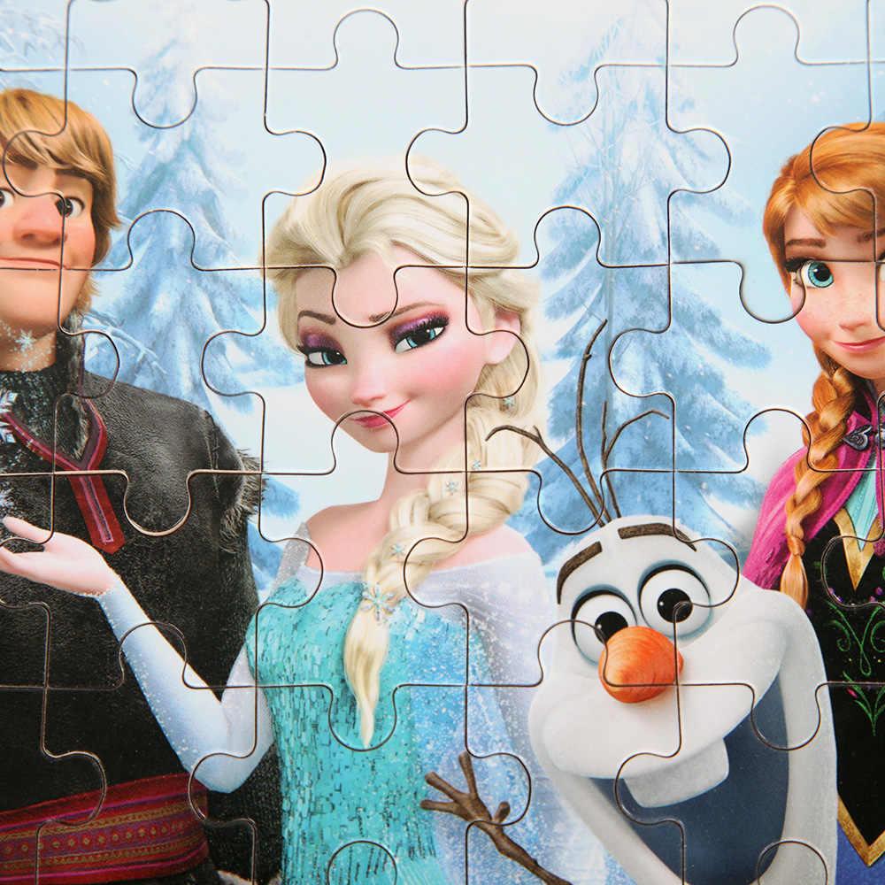 60 pcs แช่แข็งปริศนาไม้จิ๊กซอว์กล่องเหล็กเจ้าหญิง Elsa Anna จิ๊กซอว์ Board เด็กของขวัญวันเกิดของเล่นอุปกรณ์