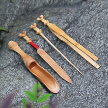 The best tea bamboo Four Piece Kit six teaspoon of tea set carving needle knife tea clips