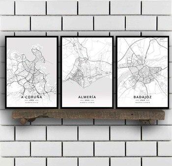 Cartel con mapa de una coruña, Almeria, Badajoz, Bilbao, Catral, Gijon Girona,...