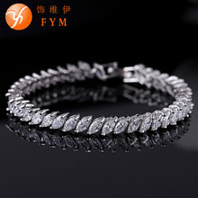 2016 New Brand Luxury Gold Plated Cuff Bracelet with AAA Zircon Crystal Bracelets Jewelry for Women Bride Bridal Wedding Party brand new luxury gold plated plant bracelet with colorful aaa zircon crystal bracelet femme bracelets for women wedding party