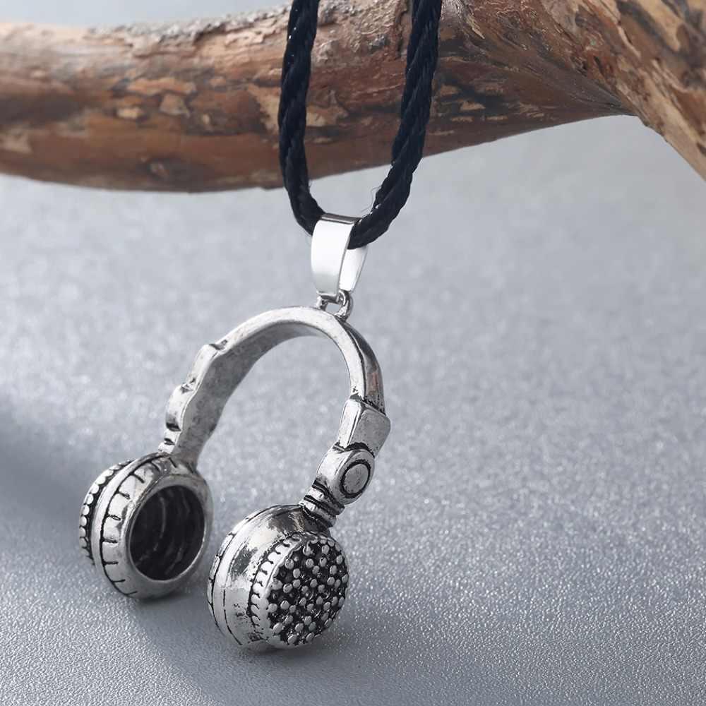 Modny Hip zestaw słuchawkowy projekt wisiorek naszyjnik w stylu Vintage 3D słuchawki naszyjniki biżuteria dla kobiet mężczyzn miłość muzyka prezenty Collares