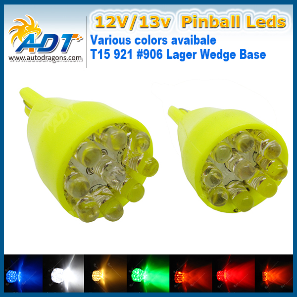 Super White AC DC 12V13V 100pcs 9* flux Chip T15 921 #906 lager Wedge Flasher led No Polar Pinball LED Lights Machine parts