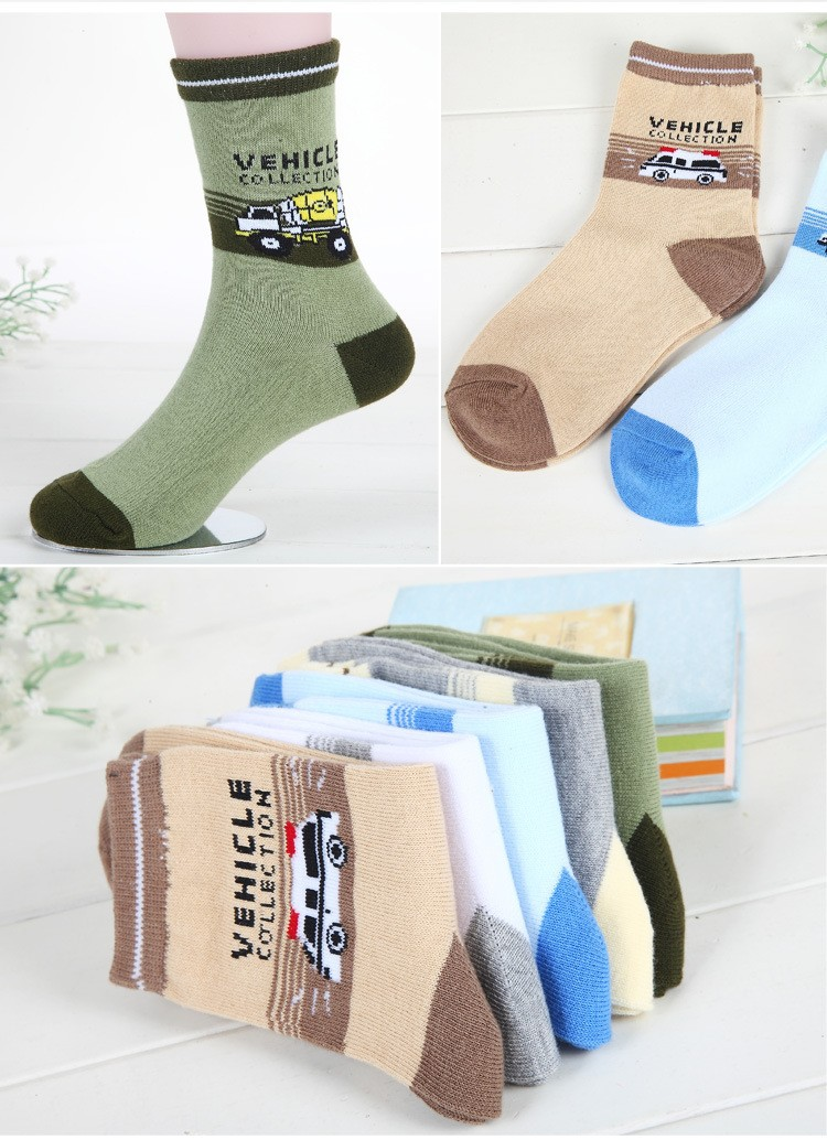 Children socks spring & autumn new Cotton cartoon car socks for boys 1-12 year kids socks (5 pairs / pack) Children Wit 4