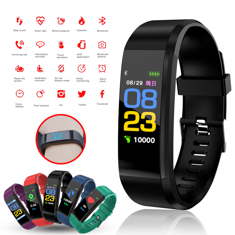 все цены на 115 PLUS Waterproof Bluetooth Smart Band Fitness Tracker Bracelet Heart Rate Monitor Blood Pressure Smartband For IOS Android