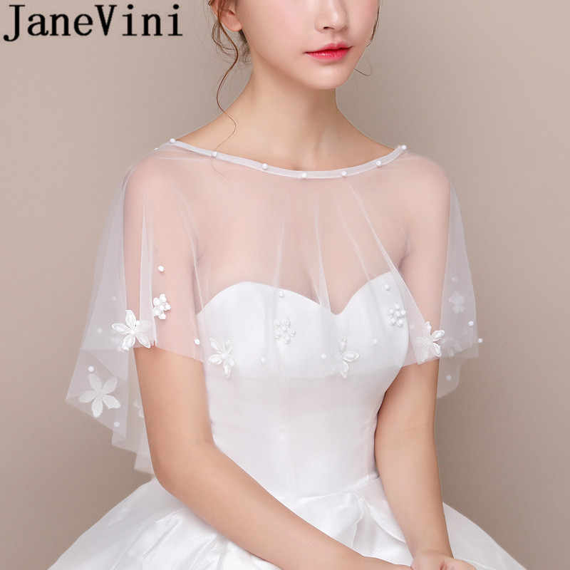 73909ada90364 JaneVini Graceful Bride Flowers Wedding Cape Summer White Bolero Girl Tulle  Shawl Wrap to Cover Arm Jacket Bridal Cloak Stoles