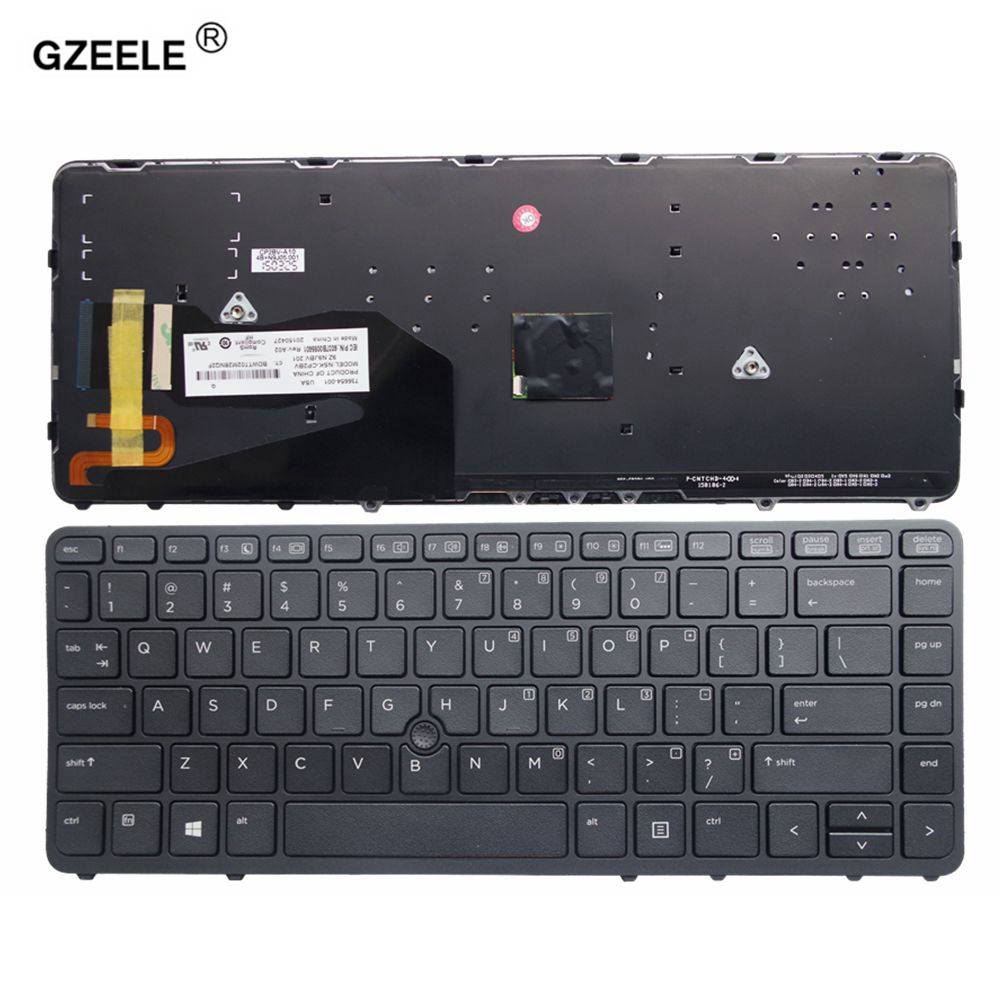 GZEELE English Laptop Keyboard For HP EliteBook 840 G1 850 G1 840 G2 850 G2 Series US Layout With Backlit With Pointing Stick