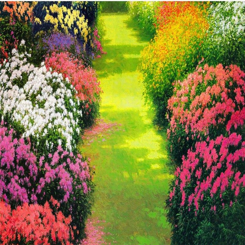 Купить с кэшбэком wellyu Customized large mural pvc thickened waterproof flower way lawn bathroom bathroom bedroom 3d floor wear-resistant floor