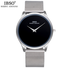 IBSO ブランドファッションメンズ腕時計ステンレス鋼メッシュストラップシンプルなスタイルスポーツビジネス時計男性レロジオ 新 Masculino