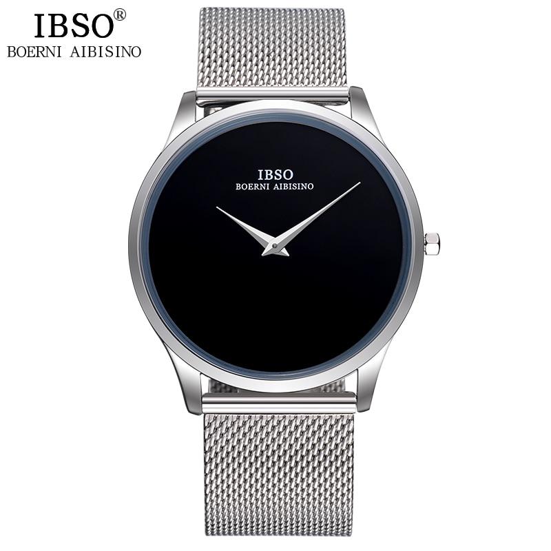 IBSO New 2019 ապրանքանիշի նորաձևության տղամարդկանց ժամացույցներ Չժանգոտվող պողպատից ԱՐՏ ժապավեն Պարզ ոճով Սպորտ Բիզնես ժամացույց տղամարդիկ Relogio Masculino