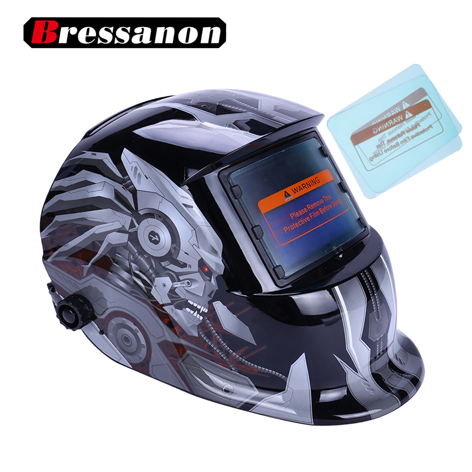 bressanon solar auto darkening mig mma electric welding mask with 2pcs exterior cover helmet. Black Bedroom Furniture Sets. Home Design Ideas