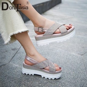 DORATASIA New Fashion INS Hot Crystal Ladies Wedges High Heels Platform Shoes Woman Casual Comfortable Summer Sandals 2019