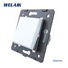 Welaik Кнопка 1Gang1Way переключатель Комплектующие для самостоятельной сборки производитель стене выключатель белый кристалл Стекло Панель AC 110-250 В a711W