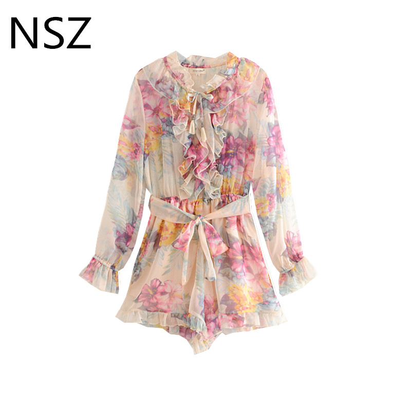 Floral Print Chiffon Playsuits Ruffles Long Sleeve Loose   Jumpsuit   Female Rompers Belt Body Mujer Summer Overalls for Women